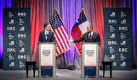 State Rep. Eric Johnson, D-Dallas (right) addresses Dallas City Council member Scott Griggs during their a televised one-hour debate sponsored by The Dallas Morning News, NBC5 and the Dallas Regional Chamber at El Centro College in downtown Dallas, Tuesday, May 14, 2019. (Tom Fox/The Dallas Morning News)(Tom Fox/Staff Photographer)