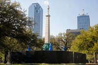 The Confederate War Memorial had to be covered up in April after vandals spray-painted vulgarities all over the 1897 monument to the Lost Cause.(Vernon Bryant/Staff Photographer)