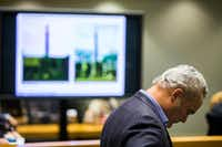 Chris Carter on March 4, when he made his case to the Landmark Commission not to remove the Confederate War Memorial(Ashley Landis/Staff Photographer)