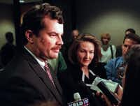 Former Dallas County Assistant District Attorneys Howard Blackmon and Kate Porter talk with the media  after former priest Rudolph 'Rudy' Kos was found guilty of aggravated sexual assault in the 1998 trial. (Richard Michael Pruitt)