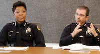 Dallas Police Chief U. Renee Hall, left, listens as Assistant Chief David Pughes talks to The Dallas Morning News Editorial board on Friday, May 17, 2019 (Irwin Thompson/The Dallas Morning News).  and others talk to the ed board(IRWIN THOMPSON/10045309A)