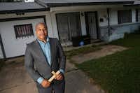 Emmanuel Lewis, standing in front of his Irving home, has seen his house's value increase almost 50% in five years.(Ryan Michalesko/Staff Photographer)