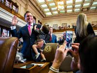 """<p>Rep. John Zerwas, shown as he was sworn in last session, is also proud of re-upping the credit card for<span style=""""font-size: 1em; background-color: transparent;"""">the Cancer Prevention and Research Institute of Texas.</span></p>(Ashley Landis/Staff Photographer)"""