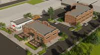 Nack Development plans to build three small retail and office buildings in Lewisville's old downtown area.(Nack Development)