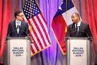 "<p><span style=""font-size: 1em; background-color: transparent;"">State Rep. Eric Johnson (right), D-Dallas, addresses Dallas City Council member Scott Griggs during their a televised one-hour debate sponsored by <i>The Dallas Morning News</i>, NBC5 and the Dallas Regional Chamber at El Centro College in downtown Dallas on May 14, 2019.</span></p>(Tom Fox/Staff Photographer)"