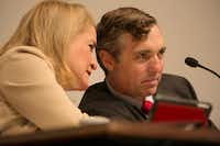Democratic Sen. Sylvia Garcia, left, speaks with Van Taylor at the Senate Select Committee on Government Reform as they discuss property tax relief 2017 during the special session of the legislature. Both Garcia and Taylor are now in Congress.(Deborah Cannon/Austin American-Statesman)