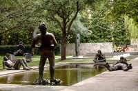 Nicole Eisenman's<i> Sketches for a Fountain</i> includes five bronze figures.(The Nasher Sculpture Center)