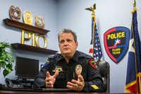 Public Information Officer David Tilley talked about red-light cameras at the Plano Police Department in 2018. Plano has a total of 25 cameras at 17 intersections.(Carly Geraci/Staff Photographer)