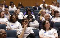 Meyerson Symphony Center supporters listen to the city council speak during a city council meeting at City Hall in Dallas, TX, on May 22, 2019.(Jason Janik/Special Contributor)