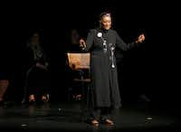 """Dr. Njoki McElroy tells her story during the """"Freedman's Town to Botham Jean: Stories for Racial Healing"""" event.(Vernon Bryant/Staff Photographer)"""