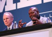 Former Dallas Cowboys running back Emmitt Smith speaks alongside former Dallas Cowboys quarterback Roger Staubach during a panel discussion at the Dallas Regional Chamber's annual luncheon at the Hilton Anatole in Dallas on Thursday, Jan. 18, 2018. (Rose Baca/The Dallas Morning News)(Rose Baca/Staff Photographer)