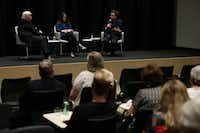 Arts writer Michael Granberry (left), director of the David Dillon Center for Texas Architecture at the University of Texas at Arlington Kathryn E. Holliday, and architecture critic Mark Lamster participate in a Duets discussion on May 21, 2019 in Dallas.(Ryan Michalesko/Staff Photographer)