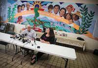 Ruben Garcia, left, the founder and executive director of Annunciation House, an El Paso nonprofit organization that has sheltered migrants for more than 40 years, speaks alongside Taylor Levy, Accredited Representative & Legal Coordinator for Annunciation House, during a press conference in El Paso, Texas, on Monday, April 1, 2019.(Ryan Michalesko/Staff Photographer)