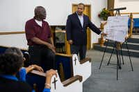 State Rep. and Dallas mayoral candidate Eric Johnson chats with a Bible study group at Dallas West Church of Christ, which he attended while growing up.(Ashley Landis/Staff Photographer)