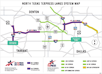 "The TEXpress road network of ""managed lanes.""(Courtesy of TEXpress)"