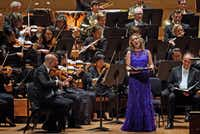Soprano Carolyn Sampson performs Haydn's <i>The Creation</i>&nbsp;with conductor Matthew Halls and the Dallas Symphony Orchestra and Chorus at the Meyerson Symphony Center in Dallas, Texas on Friday, May 24, 2019.&nbsp;(Lawrence Jenkins/Special Contributor)