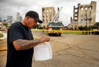 Jerry Nappi III, who survived the four-alarm fire that destroyed the historic Ambassador Hotel, lived in a trailer next to the hotel as the onsite caretaker/security person. He escaped only with what he was wearing.(Tom Fox/Staff Photographer)