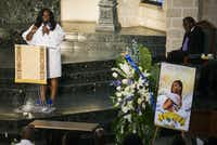 Stephanie Houston, mother of Muhlaysia Booker, speaks at her daughter's funeral service Tuesday at Cathedral of Hope in Dallas. Booker was a transgender woman who was shot and killed May 18 in Far East Dallas.(Ashley Landis/Staff Photographer)