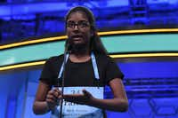 Pranathi Jammula, 13, of Austin, Texas, competes in the second round of the Scripps National Spelling Bee in Oxon Hill, Md., Tuesday, May 28, 2019.(Susan Walsh/AP)