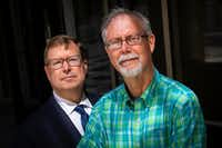 John Rogers (right), with attorney John Palter outside the offices of Palter Sims Martinez in Dallas, said he dismissed his suit after getting a message from God.(Smiley N. Pool/Staff Photographer)