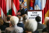 """Marsha Jackson steps away from the podium after speaking during a press conference concerning """"Shingle Mountain"""" in south Dallas on March 20, 2019 at City Hall in Dallas.(Ryan Michalesko/Staff Photographer)"""