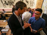 Presidential candidate Beto O'Rourke speaks with Christian Quintero, 20, following a round table event at Casa Komali restaurant on Thursday, May 30, 2019, in Dallas. Quintero is a DACA beneficiary who has lived in the U.S. since 2001.(Ryan Michalesko/Staff Photographer)