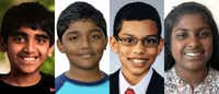 """<p><span style=""""font-size: 1em; background-color: transparent;"""">Four North Texas students were among 16 spellers to advance to Thursday's night's prime-time final round at the Scripps National Spelling Bee.: Abhijay Kodali (from left) of Flower Mound, Rohan Raja of Irving, Sohum Sukhatankar of Dallas and Hephzibah Sujoe of Fort Worth.</span></p>(Scripps National Spelling Bee)"""