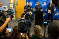 Dallas Police Deputy Chief Avery Moore addresses a press conference regarding overnight homicides on Friday, May 31, 2019, in Dallas. Beside him are Maj. Max Geron (left) and Lt. Lance Hunter. (Smiley N. Pool/Staff Photographer)