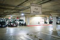 The parking space reserved for the mayor is seen  in the garage underneath Dallas City Hall on May 8, 2019. (Smiley N. Pool/The Dallas Morning News)