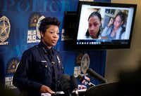 Dallas Police Chief U. Reneé Hall spoke Monday about the death of Chynal Lindsey, a black transgender woman found dead this weekend at White Rock Lake. At the news conference, the police department displayed both a recent (right) and older photo of Lindsey. (Tom Fox/Staff Photographer)