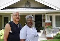 Arnold and Jackie Abney in front of their Park Row home of 24 years, only a few blocks away from Jim's Car Wash.(Vernon Bryant/Staff Photographer)