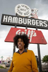 Playwright Jonathan Norton stands in front of Griff's Hamburgers in the Pleasant Grove area of Dallas on June 1.(Allison Slomowitz/Special Contributor)