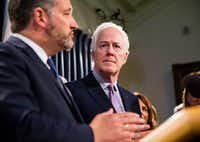 "Sen. John Cornyn, R-Texas, (right) said tariffs are ""not great policy — that gun kicks as hard as it shoots.""(Daniel Carde/Special Contributor)"