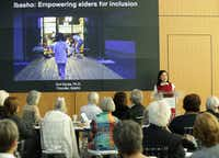 Emi Kiyota discussed aging in the city during The Physical City discussion, a Dallas Festival of Books and Ideas event at UT Dallas Center for BrainHealth, Brain Performance Institute on May 28, 2019.(Jason Janik/Special Contributor)