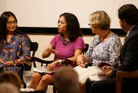 """Liz Cedillo-Pereira (center), director of the city of Dallas' Office of Welcoming Communities and Immigrant Affairs, speaks as Jin-Ya Huang (left), founder of Break Bread, Break Borders; Keven Ann Willey (second from right), former vice president and editorial page editor at <i>The Dallas Morning News,</i>&nbsp;and Alfredo Carbajal (right), managing editor of <i>Al Dia,</i> listen during """"The Welcoming City"""" discussion at the Dallas Institute in Dallas on Wednesday, May 29, 2019.&nbsp;(Vernon Bryant/Staff Photographer)"""