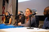 Brandi Cantarel speaks on the Science in the City panel during the Dallas Festival of Books and Ideas at UT Southwestern in Dallas on May 30, 2019.(Lawrence Jenkins/Special Contributor)