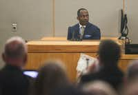 Dallas police homicide Detective Eric Barnes testified during Delgado's murder trial Thursday. Jurors saw footage from Barnes' initial two-hour interrogation of Delgado in which he noted inconsistencies in her story after Hatcher's slaying.(Ryan Michalesko/Staff Photographer)