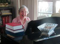 Jane Marshall, seen at her piano in 2016, became a revered figure in United Methodist circles and beyond for her many anthems, hymns and other sacred music pieces, as well as her work as a music educator.(Sam Hodges, UMNS)