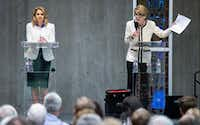 City councilwoman Jennifer Staubach Gates, left, and Laura Miller, who were candidates for City Council District 13, participated in a debate at Jesuit College Preparatory School of Dallas, Monday, April 22, 2019. (Brandon Wade/Special Contributor)