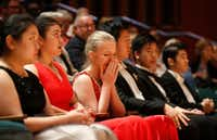 Eva Gevorgyan reacts after being named a finalist at the 2019 Cliburn International Junior Piano Competition and Festival at Caruth Auditorium in Dallas.(Vernon Bryant/Staff Photographer)