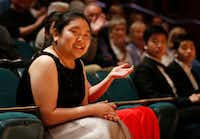 JiWon Yang reacts after being named a finalist at the 2019 Cliburn International Junior Piano Competition and Festival.(Vernon Bryant/Staff Photographer)