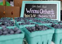 Blueberries from Winona Orchards in Winona were among the fresh produce at the Frisco Fresh Market in Frisco last June.(Jason Janik/Special Contributor)