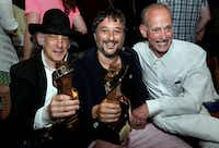 In this June 22, 2013 photo provided by the Provincetown International Film Festival, honorees including cinematographer Ed Lachman and filmmaker Harmony Korine pose with filmmaker John Waters at the 2013 Provincetown International Film Festival in Provincetown, Mass.(Bruce Gilbert/AP)