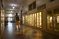A woman walks down a hallway at Booker T. Washington High School for the Performing and Visual Arts in Dallas.(Lynda M. Gonzalez/Staff Photographer)
