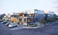 A 34-unit apartment project south of downtown Fort Worth is being constructed out of 76 steel shipping containers.(Keywinn Development)