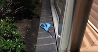 A pair of scissors lies outside an apartment where a naked man broke in through a window and terrorized a couple as they slept Saturday night in northeast Dallas.(Trent Tate)