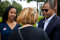 """Nakita """"Nikki"""" Johnson and state Rep. Eric Johnson chat with Nancy Hart as she makes her way to cast her vote at Samuell Grand Recreation Center in Dallas on Tuesday, May 28, 2019.(Shaban Athuman/Staff Photographer)"""