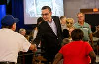 Scott Griggs, Dallas mayoral candidate, greeted supporters at his election-night watch party at Longhorn Ballroom in Dallas on Saturday, June 8, 2019.(Lynda M. Gonzalez/Staff Photographer)