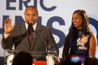 Mayor-Elect Eric Johnson gives remarks joined by his wife, Nikita Johnson, during his victory party at Fairmont Dallas on Saturday, June 8, 2019. (Shaban Athuman/Staff Photographer)