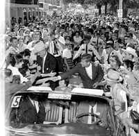 Judge Sarah T. Hughes sits between Lyndon Johnson and John F. Kennedy as their motorcade departs Fort Worth's Burk Burnett Park on Sept. 13, 1960. (Clint Grant/Staff Photographer)